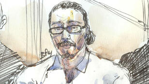 Dibujo de Jawad Benaoud durante audiencia del 24 de enero de 2018.