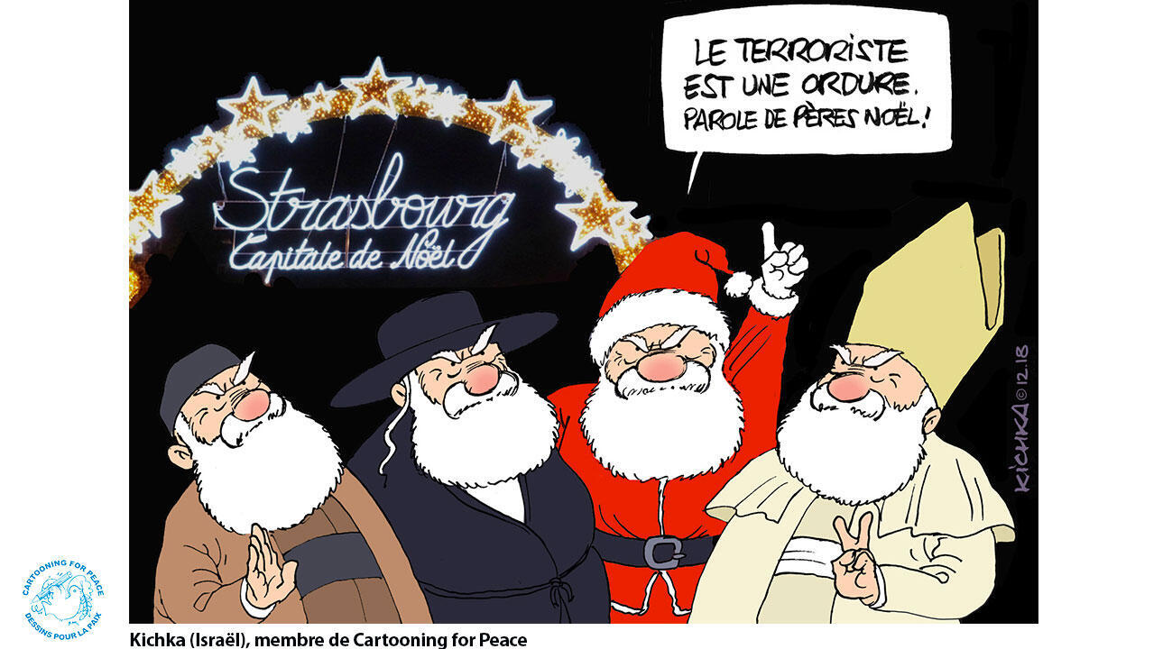 """""""Le terroriste est une ordure"""", clame le gang des pères Noël du dessinateur Kichka."""