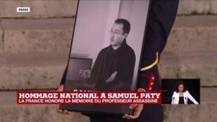2020-10-21 20:00 Hommage national.à Samuel Paty : la Marseillaise retentit à la Sorbonne suivi d'une minute de silence