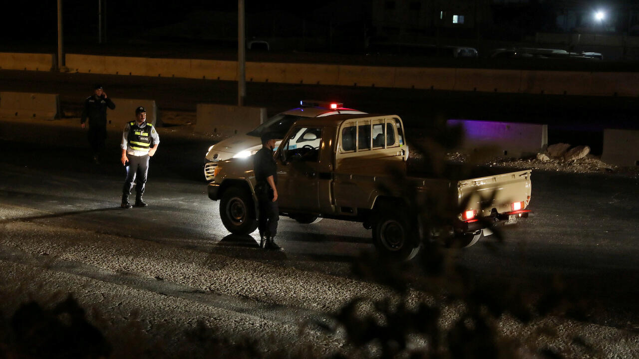 Jordanian police close the highway between the capital, Amman, and the city of Zarqa, after reports of large explosions at a nearby army base on September 11, 2020.
