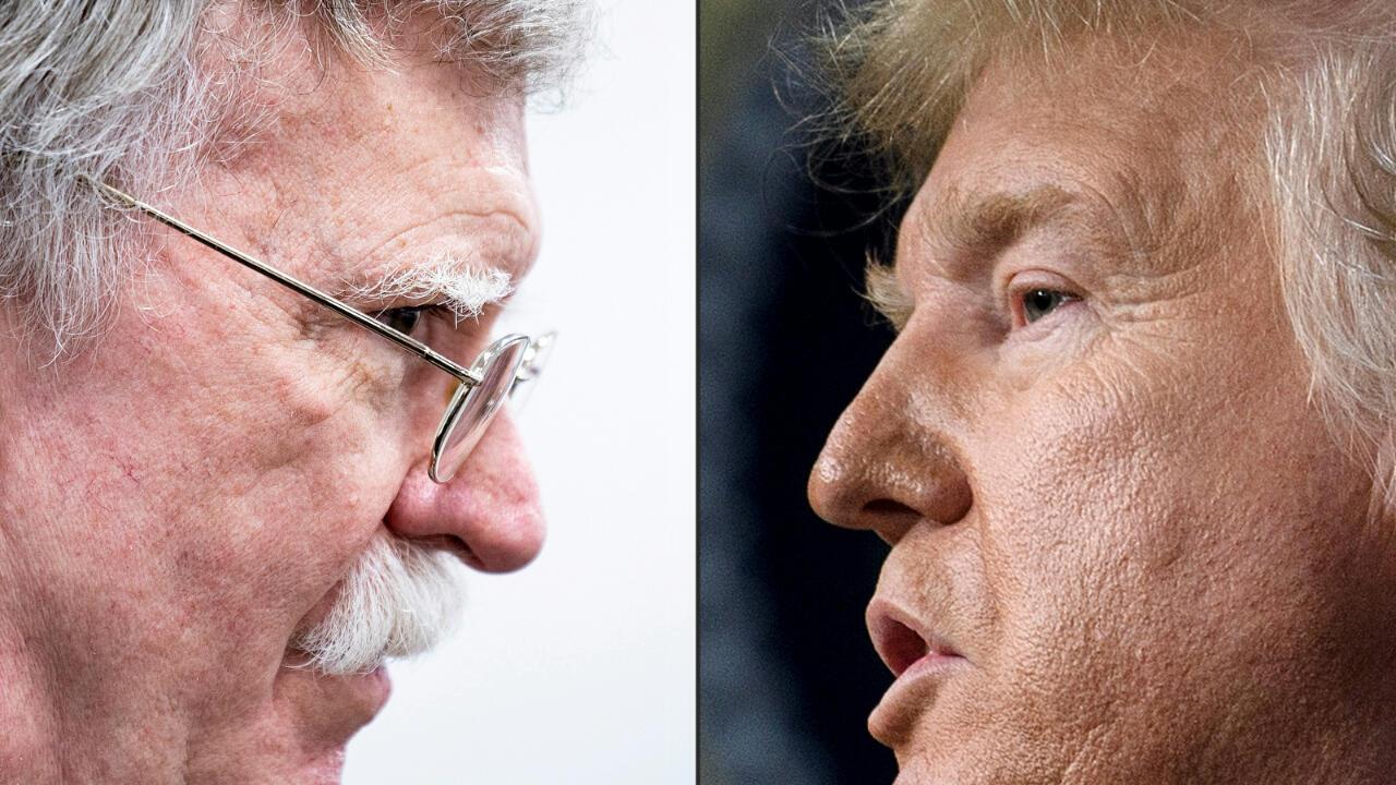 Former National Security Advisor John Bolton (L) and US President Donald Trump (R).