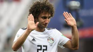 عمرو وردة في صورة له خلال مباراة المنتخبين المصري والسعودي في مونديال روسيا، في 25 حزيران/يونيو 2018.