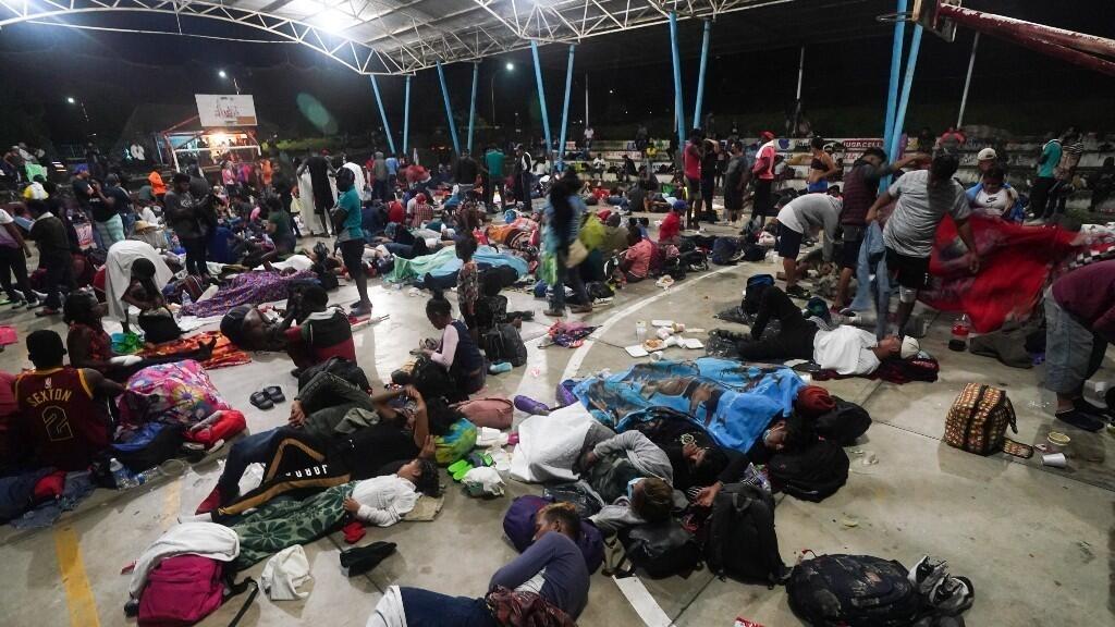 Domo donde los migrantes pasaron la noche en el municipio de mexicano de Huixtla. 5 de septiembre de 2021.