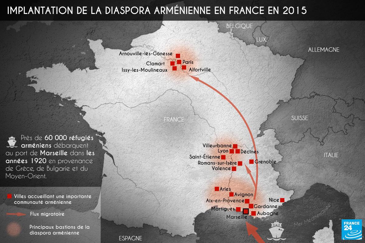 Carte de l'implantation de la diaspora arménienne en France en 2015