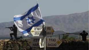 Un drapeau israélien sur le mont Bental sur le plateau occupé du Golan le 10 mai 2018.