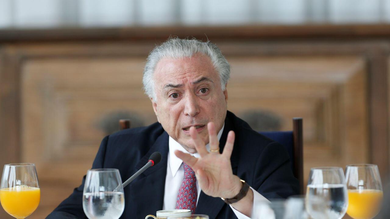 El presidente de Brasil, Michel Temer, durante un desayuno con medios extranjeros en el Palacio de Alvorada en Brasilia, el 6 de diciembre de 2018.