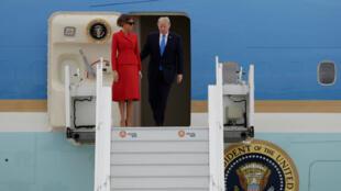 دونالد ترامب وزوجته ميلانيا عند وصولهما إلى باريس في 13 يوليو/تموز 2017