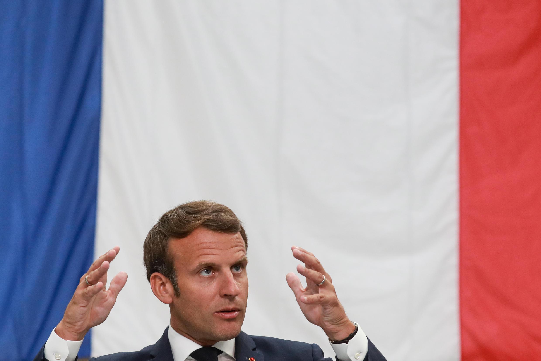 Le président fançais, Emmanuel Macron, lors d'une conférence de presse à Etaples, le 26 mai 2020.
