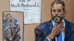 Courtroom sketch of Minneapolis Police Lt. Johnny Mercil answering questions on the seventh day of the trial of former Minneapolis police officer Derek Chauvin for second-degree murder, third-degree murder and second-degree manslaughter in the death of George Floyd in Minneapolis, Minnesota, on April 6, 2021.