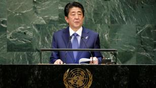 El primer ministro, Shinzo Abe, durante la sesión 73 de la Asamblea General de la ONU en Nueva York. 25 de septiembre de 2018.