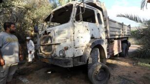 Un tir de mortier tombé à Tripoli le 30 août 2018. Depuis, les combats ont repris dans la capitale.
