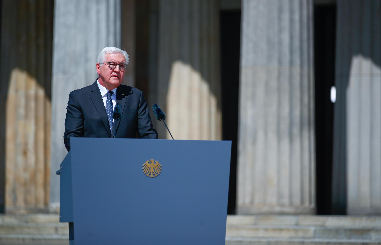 Le président allemand Frank-Walter Steinmeier lors de la cérémonie pour marquer les 75 ans de la fin de la fin de la Seconde Guerre mondiale en Europe, le 8 mai 2020, à Berlin.