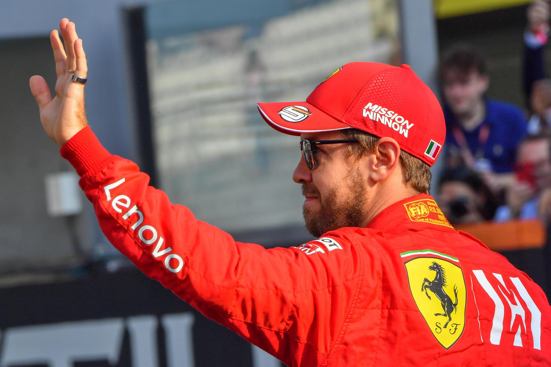 Sebastian Vettel, le pilote allemande de l'écurie italienne Ferrari, avant le Grand Prix d'Abu Dhabi en clôture de la saison 2019, le 1erdécembre2019.