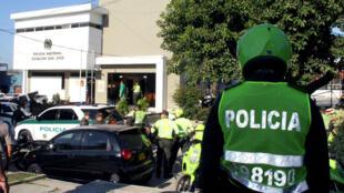 La estación de Policía en la que murieron cuatro agentes tras la detonación de un artefacto explosivo el 27 de enero.