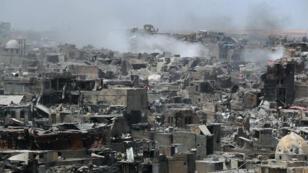 La ville de Mossoul en ruine après l'annonce de la libération par l'armée irakienne, le 9 juilletb 2017.