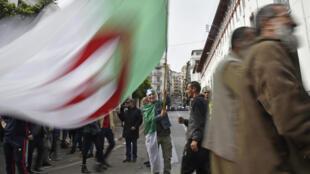 Un manifestant brandit un drapeau algérien