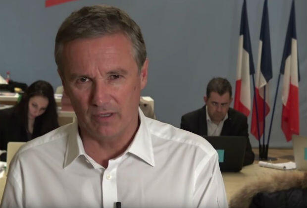 Anti-EU leader Nicolas Dupont-Aignan on his YouTube channel