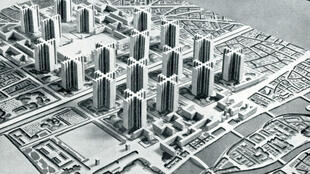 """Le Corbusier's 1925 """"Plan Voisin"""" planned to raze parts of central Paris and replace them with high-rise towers and highways."""