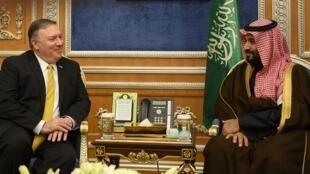 ولي العهد السعودي محمد بن سلمان مستقبلا وزير الخارجية الأمريكي مايك بومبيو في الرياض 2019/01/14