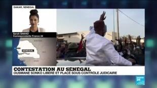 2021-03-08 13:10 Contestation au Sénégal : Ousmane Sonko libéré et placé sous contrôle judiciaire