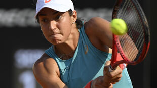 Caroline Garcia face à l'Estonienne Anett Kontaveit au 1er tour du tournoi de Rome, le 15 septembre 2020