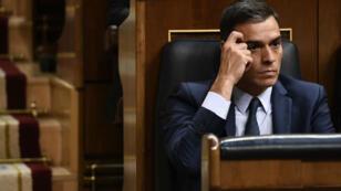 Le Premier ministre espagnol, Pedro Sanchez, lors d'un débat parlementaire, le 25 juillet.