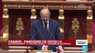 """2020-04-28 15:56 Coronavirus - Philippe à l'Assemblée : """"Je proposerai au parlement d'adopter une loi"""" sur le déconfinement"""