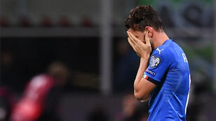 Les larmes du milieu de terrain italien Alessandro Florenzi, le 13 novembre 2017, au stade San Siro à Milan.