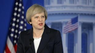 La Première ministre britannique, Theresa May, s'exprime à un congrès de républicains à Philadelphie, le 26 janvier 2017.