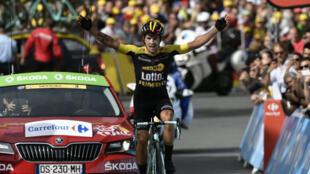 Le slovène Primoz Roglic a remporté la 17e étape du Tour de France dans les Alpes entre La Mure et Serre-Chevalier, le 17 juillet 2017.