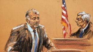 Boceto del abogado Reid Weingarten hablando en el podio mientras el juez Richard Berman preside durante una audiencia en el caso penal contra Jeffrey Epstein en Nueva York.