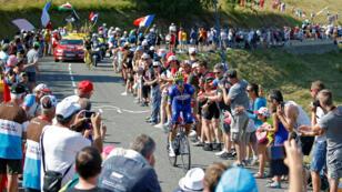 Fotografía durante la etapa 10 de 158.5 km desde Annecy hasta Le Grand-Bornand el 17 de julio de 2018.