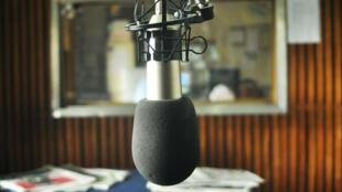 Micrófono en la Radio Universidad Nacional de La Plata. 18/2/14
