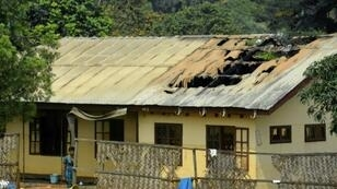 A school dormitory in the northwest, after it was set on fire