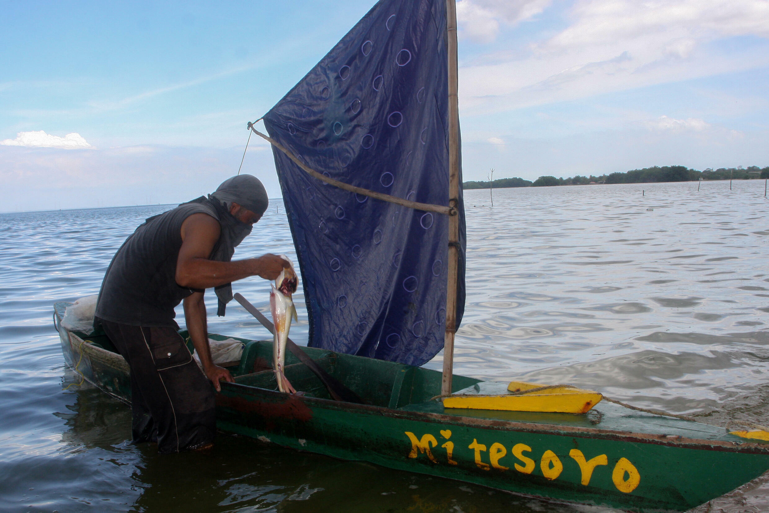 Fishermen return home with meager pickings after a morning on the lake