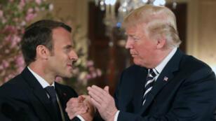 Emmanuel Macron et Donald Trump lors de leur conférence de presse commune, le 24 avril 2018, à Washington.