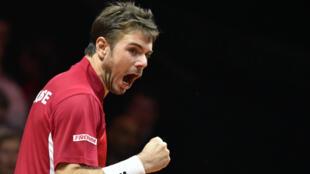 Stan Wawrinka, vainqueur du premier match de la finale de la Coupe Davis.