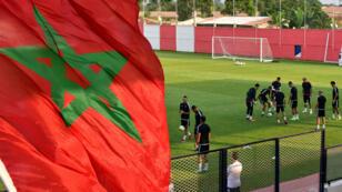 L'équipe du Maroc lors d'un entraînement en janvier 2017 en marge de la Coupe d'Afrique des nations au Gabon.