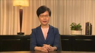 La jefa del Gobierno de Hong Kong, Carrie Lam, se dirige a los honkoneses en un mensaje televisado este 4 de septiembre de 2019