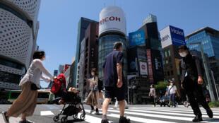Le quartier des commerces de luxe de Ginza à Tokyo le 17 mai 2020