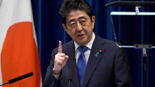 Le premier ministre japonais Shinzo Abe le 25 septembre, lors de sa conférence de presse à Tokyo.