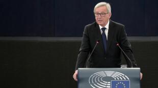 Le président de la Commission européenne, Jean-Claude Juncker, devant le Parlement européen, à Strasbourg, le 9 septembre 2015.