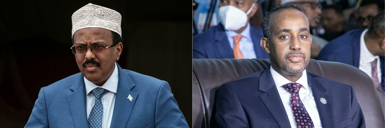 صورتان متلاصقتان للرئيس الصومالي محمد عبدالله محمد (يسار) ورئيس الوزراء محمد حسين روبلي