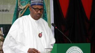 Le président nigérian Muhammadu Buhari lors de la conférence annuelle du Chef d'état-major des armées le 28 novembre.