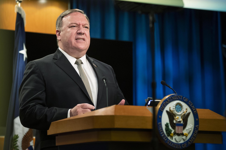 """Le secrétaire d'État américain, Mike Pompeo, s'en est de nouveau pris à la Chine, le 23 juillet 2020, qualifiant Pékin de """"nouvelle tyrannie""""."""