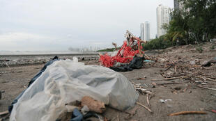 Imagen de una pila de desechos plásticos en la playa de Ciudad de Panamá, el 19 de julio de 2019.