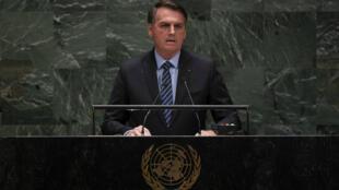 Le président brésilien, Jair Bolsonaro, lors de son discours à la tribune de l'ONU, le 24 septembre 2019, à l'ONU.