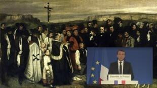 Un enterrement à Ornans de Gustave Courbet, et un extrait du premier discours d'Emmanuel Macron une heure après l'annonce officielle de sa victoire.