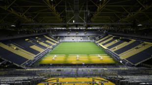 صورة عامة مؤرخة بالخامس من أيار/مايو 2020، لملعب سيغنال إيدونا بارك الخاص بنادي بوروسيا دورتموند الألماني لكرة القدم.