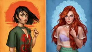 La princesse Mulan et la petite sirène Ariel en version 2017 dans les dessins de l'illustratrice Fernanda Suarez.